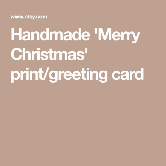 Handmade 'Merry Christmas' print/greeting card
