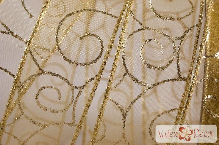 Karácsonyi organza szalag - arany indás - 38mm x 9,1m - Valex Decor Kft. | Virágkötészeti kellékek és dekorációk webáruháza