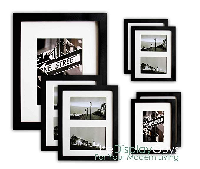 The Display Guys 7 Piece Matte Black Solid Pine Wood Photo Frame Set One 16x20 Inch Two 11x14 Inch Four 8 Wood Photo Frame Photo On Wood Picture Frame Wall