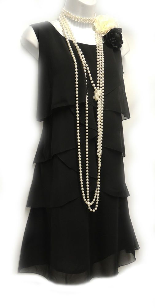 Rosa Rosa Vtg 1920's Black Gatsby Downton Charleston Chiffon Flapper Dress UK 14 #RosaRosa