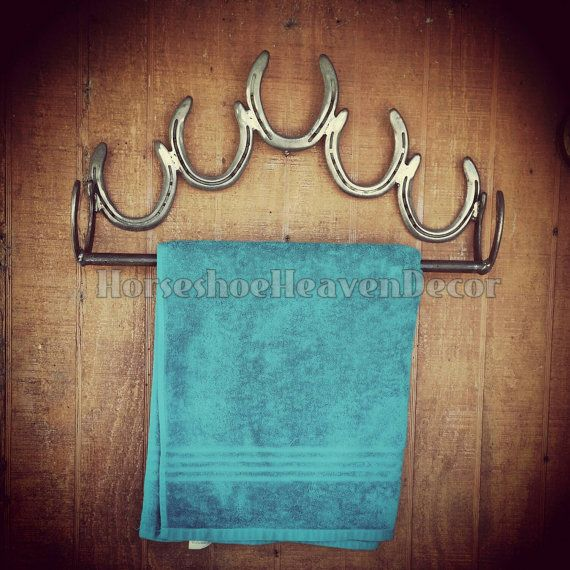 Horseshoe Towel holder Bathroom Towel decor by KadysKustomKrafts