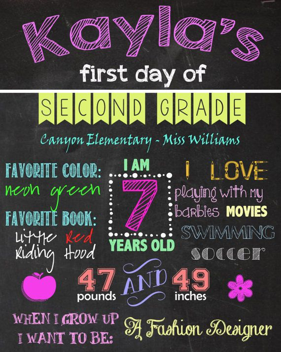 CHALKBOARD FIRST DAY OF SCHOOL POSTER SIGN  https://www.etsy.com/listing/196429710/printable-first-or-last-day-of-school