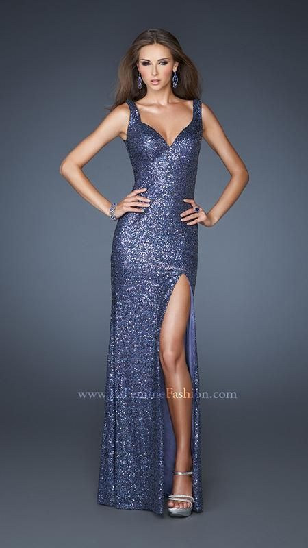 { La Femme 18851 | La Femme Fashion } La Femme Prom Dresses - Sequined - deep V - High Slit - Pageant - Elegant - Form Fitting