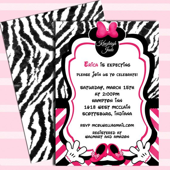 Minnie Mouse Baby Shower Invitations Custom Request Only 30 00 Pinterest