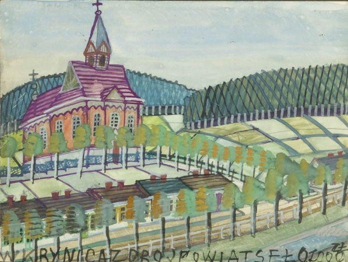 Nikifor Krynicki - Kościół na wzgórzu