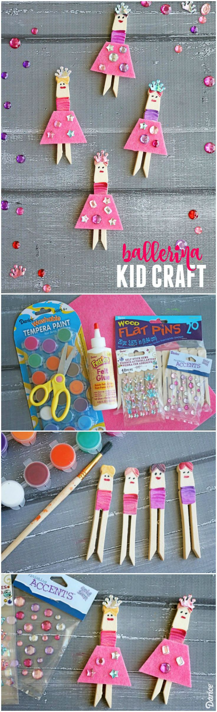 Grab your kids and dance to your own crafty beat as you make these adorable and completely customizable clothespin ballerina crafts together!