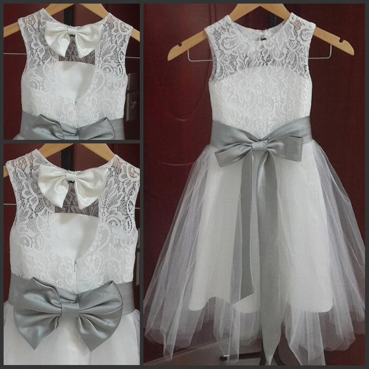 A Line Jewel Neckline Vintage Lace Flower Girl Dresses Tulle Little Girl Formal Wedding Party Gowns Silver Grey Sash And Bow Bridesmaid Dresses For Girls Burgundy Flower Girl Dresses From Sweetywedding88, $56.55| Dhgate.Com