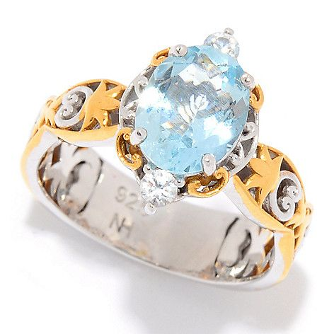 170-826 - Gems en Vogue  1.80ctw Oval  Shaped Aquamarine  & White Zircon  Cocktail Ring