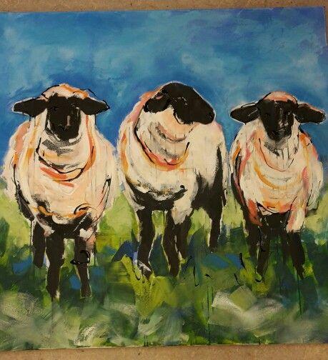 Sheep coming too.. acryl on cotton.. 1x1 mtr