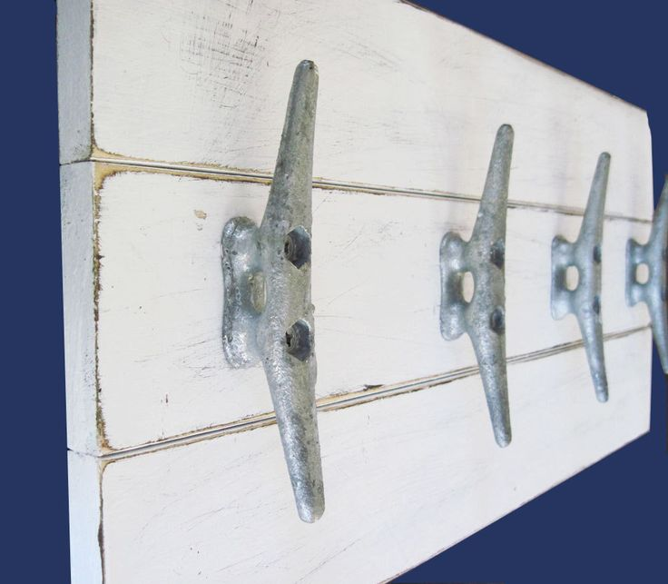 Boat Cleat Coat Rack 22x10 Distressed White by ProjectCottage, $65.00