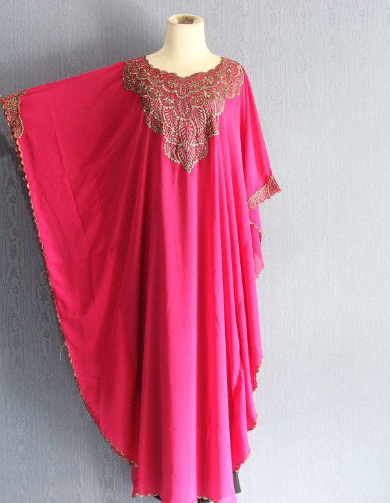 Rosa ricamo Abito kaftano oversize vestito floreale di Yosika