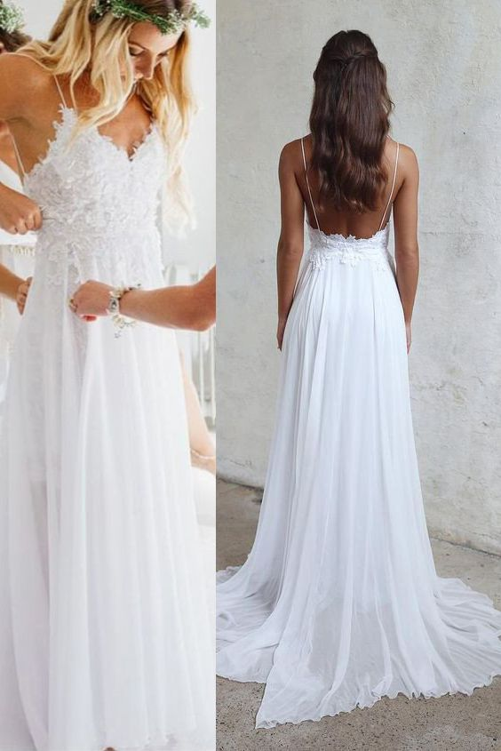 Fancy Spaghetti Strap V neck White Chiffon Lace Appliqued Summer Beach Wedding Dresses Bridal Dress