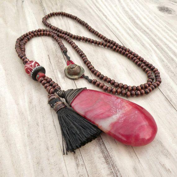 Long Tassel Necklace Dark Brown Wood Beads Black by GypsyIntent