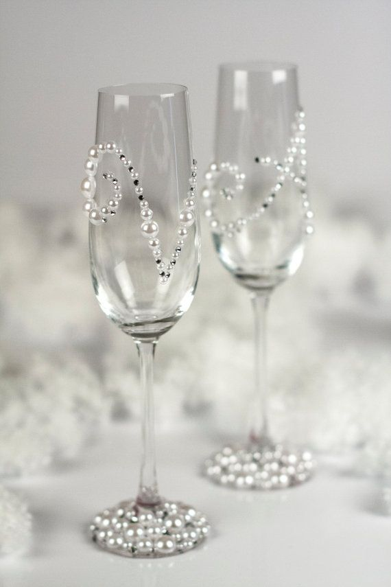 Pearl and Crystal toasting flutes personalized with by DiAmoreDS