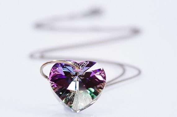 Purple Heart Necklace Swarovski Heart Pendant Silver Jewelry Summer Jewelry Oxidized Silver Chain