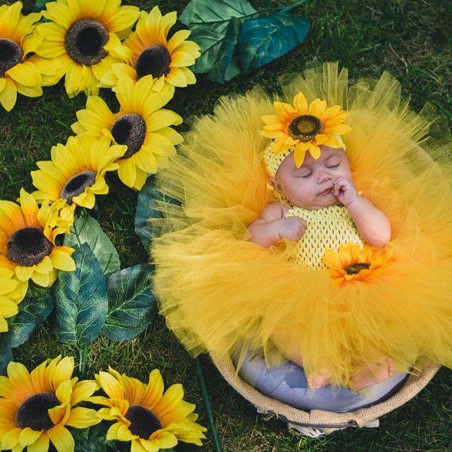 6 Month Photos Newborn Shower Gift Baby Sunflower Tutu Large Flower Headband Outfit Half Birthday Girl Cake Smash Photoshoot Prop