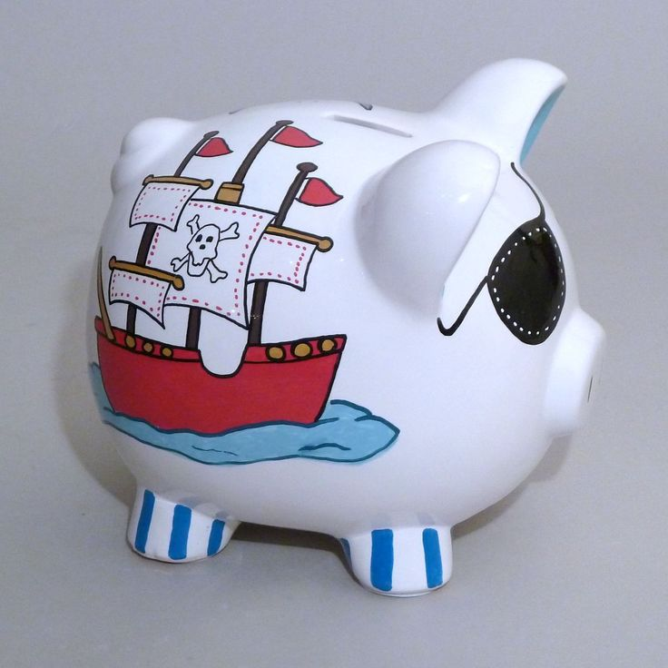 A great way for your little pirate to save all his booty is with this hand painted and personalized Large Piggy Bank. $34.95