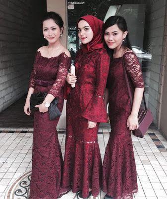 contoh model inspirasi baju kebaya brokat maroon | Pakaian ...