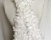 White Ruffle Scarf with sequins Valentine's Day Gift For Her Mother's day , Europeanstreetteam , Craftoriteam