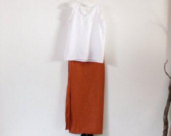 linnen outfit witte tank boven roest wrap rok handgemaakte te meten petite te plus grootte
