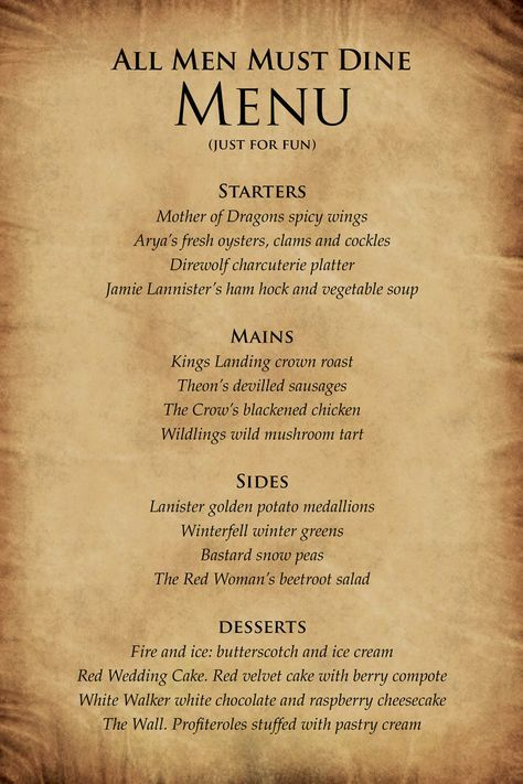 Dinner Party Game Part - 27: Game Of Thrones Inspired Party - Google Search