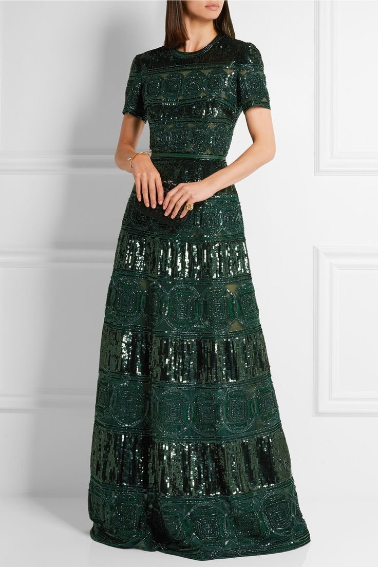 Elie Saab Belted Embellished Tulle Gown in Emerald