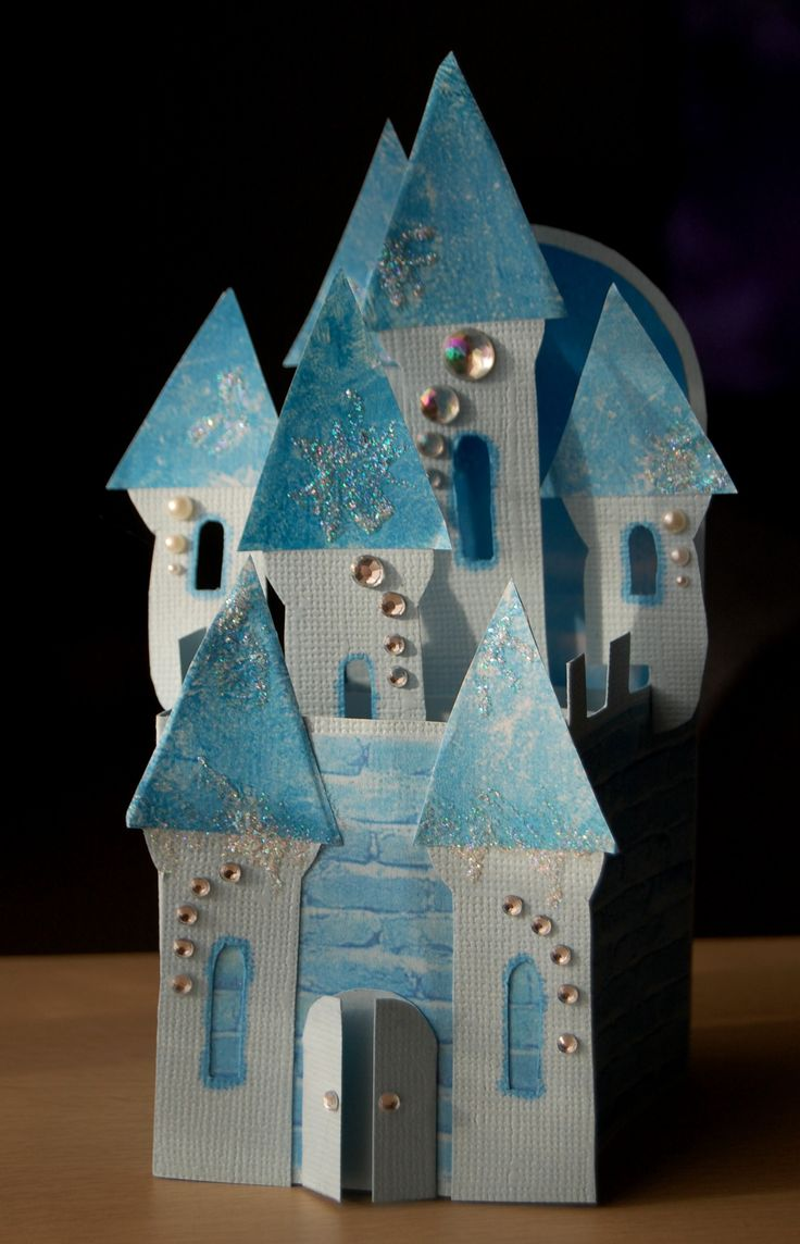Frozen castle made as card in a box