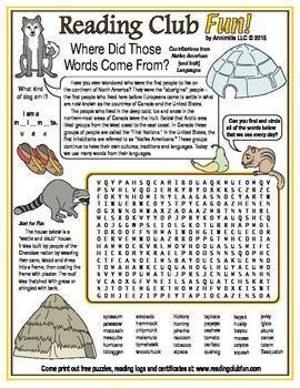 NATIVE AMERICAN CONTRIBUTIONS - Learn about words that we use every day that came from Native American, First Nations, and Inuit languages with this word search puzzle!