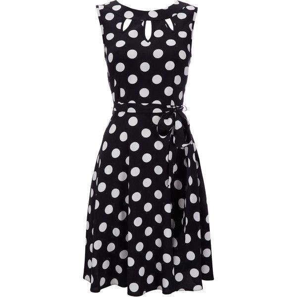 Black Polka Dot Petite Dress ($70) ❤ liked on Polyvore featuring dresses, vestidos, polka dots, black, petite, dot dress, rayon dress, viscose dresses, cutout dresses and wallis dresses