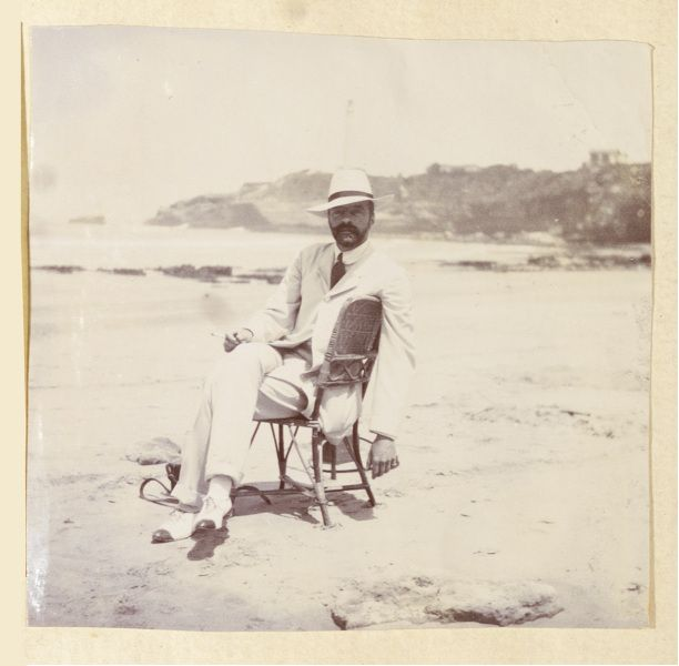 Undated photograph of Grand Duke Alexander Mikhailovich at Biarritz. European royalty began visiting Biarritz, a seaside town in southwestern France, in the 19th century. From the Mary Brown Wanamaker photo album, 1909-1910, John Wanamaker collection (Collection 2188)