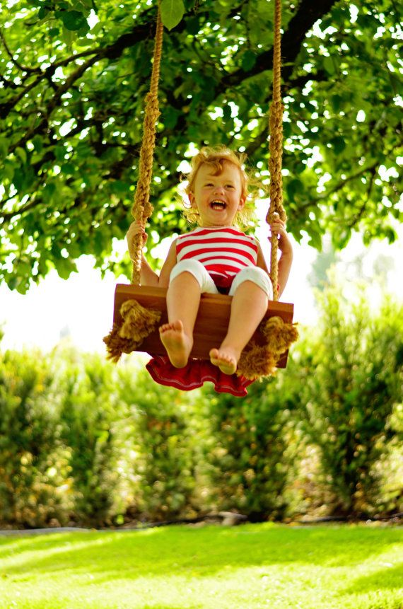 """Otter - Cedar rope tree swing 18"""" wide - Perfect for the toddler in your life. Summer Fun"""
