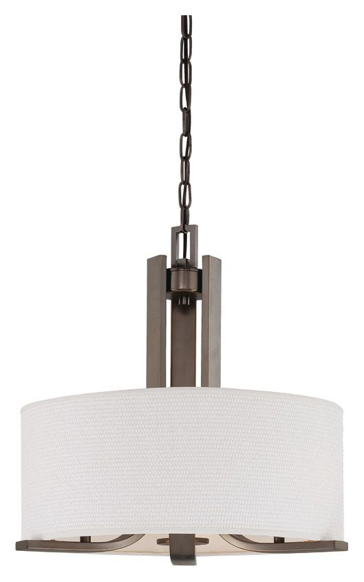 Pendenza 3 Lamp Oiled Bronze Finish 20 Inch Diameter White Fabric Drum Pendant Lighting