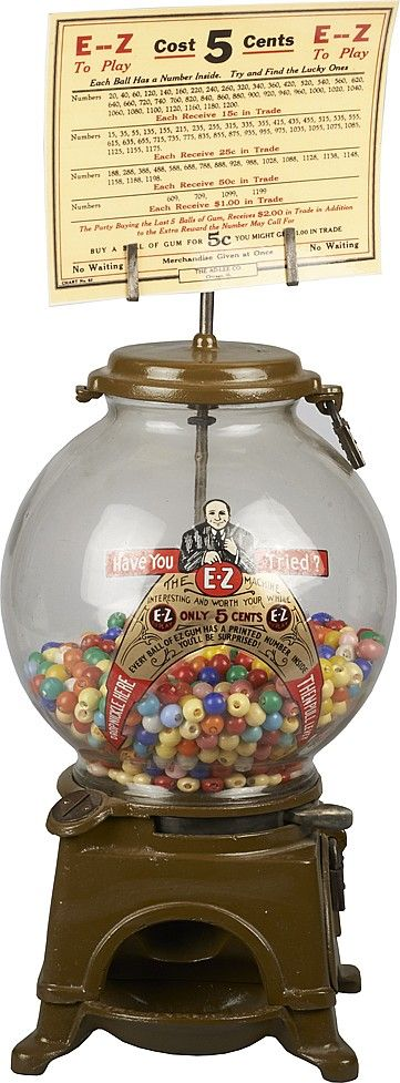 "5 Cent Ad-Lee Novelty Co. E-Z ""Countertop Gumball Machine"". (Every  Gumball has a number inside to win a chance for a prize in the store.)"