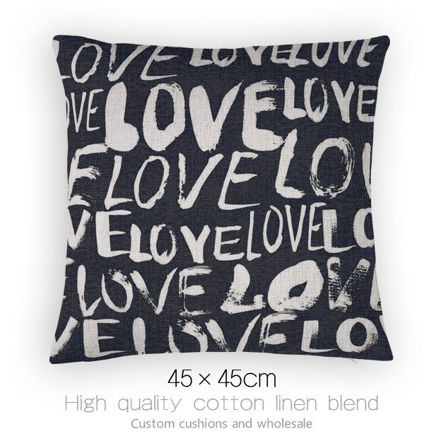 Дешевое Черный и белый цвет подушки для диванов стильные и удобные подушки украсить письма люблю тебя домой подушку украшения, Купить Качество Подушки непосредственно из китайских фирмах-поставщиках:             [Ткань продуктов]           Хлопок Лен смешанные                   -----------------------------------------