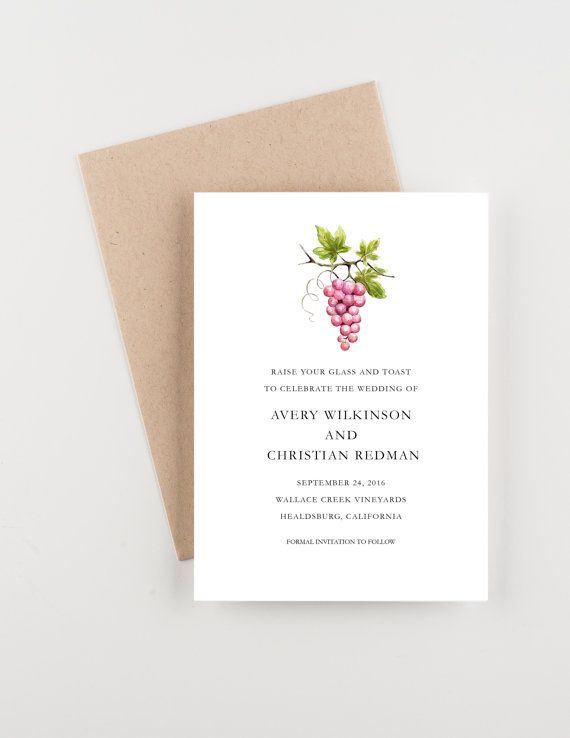 Vineyard Celebration Save The Date Grapes and by seahorsebendpress