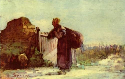 Nicolae Grigorescu (1838 - 1904) | Realism | French peasant woman with a bag on her back