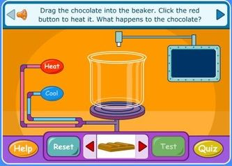 This is a great interactive activity from BBC, which allows students to discover what changes occur in different sources of matter–solid, liquids, and gas–when interacted with heat. The game explains how gas is created from heating liquid, and liquid is created from cooling gas. The game has students identify the solids, liquids, and gases through sorting different sources of matter. There is then a quiz at the end to assess the students knowledge.