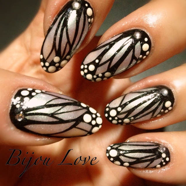 31 day nail challenge day 15: A delicate print...so I made butterfly wings...although they look more like dragonfly wings, oh well