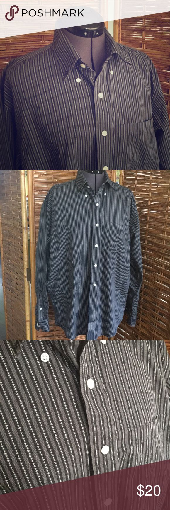 Men's Arrow shirt Men's wrinkle-free Arrow shirt in black and cream stripe pattern. M15 - 15 1/2 Arrow Shirts Casual Button Down Shirts