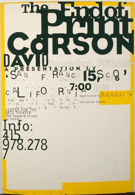 Looks like an accident but very perfecty not.   The end of print | David Carson