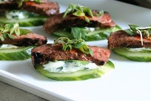 Spicy Korean Beef & Cucumber Appetizer -- Recipe developed by Krayl Funch and The Beef Checkoff