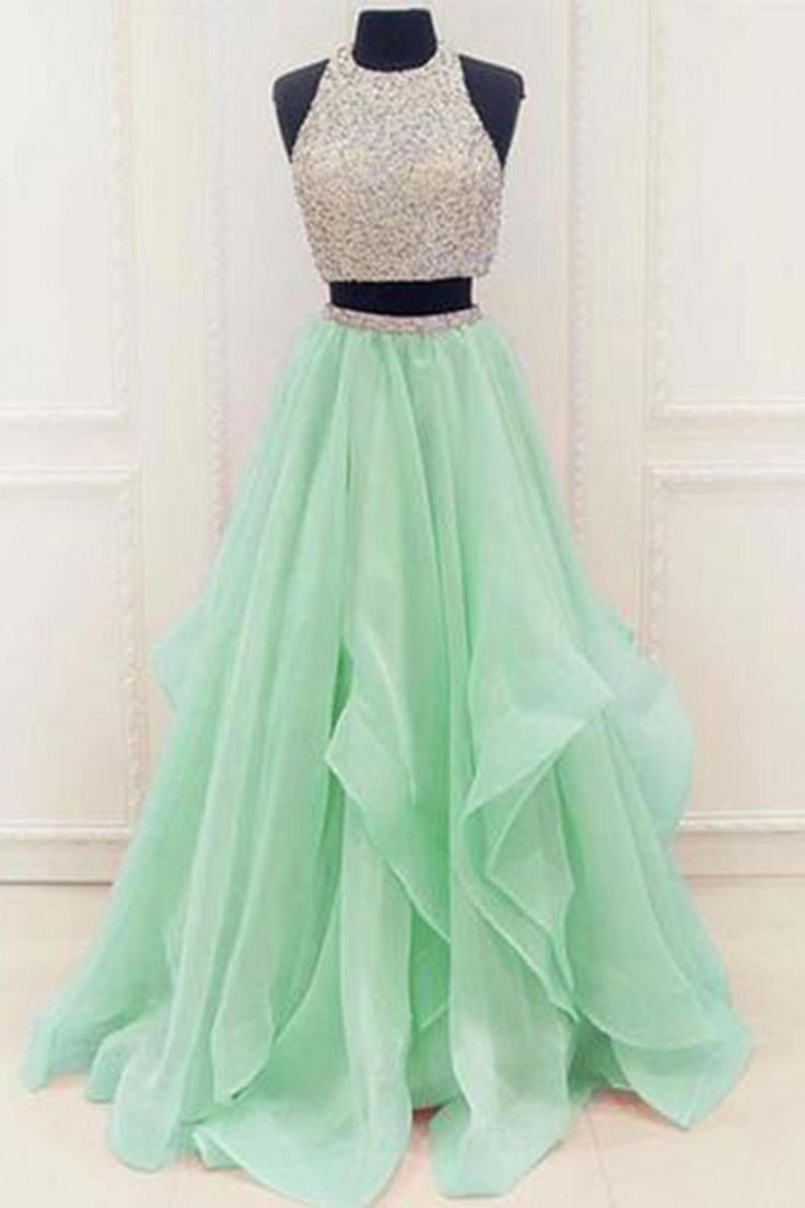 Green two pieces tulle round neck long prom dresses, green evening dress