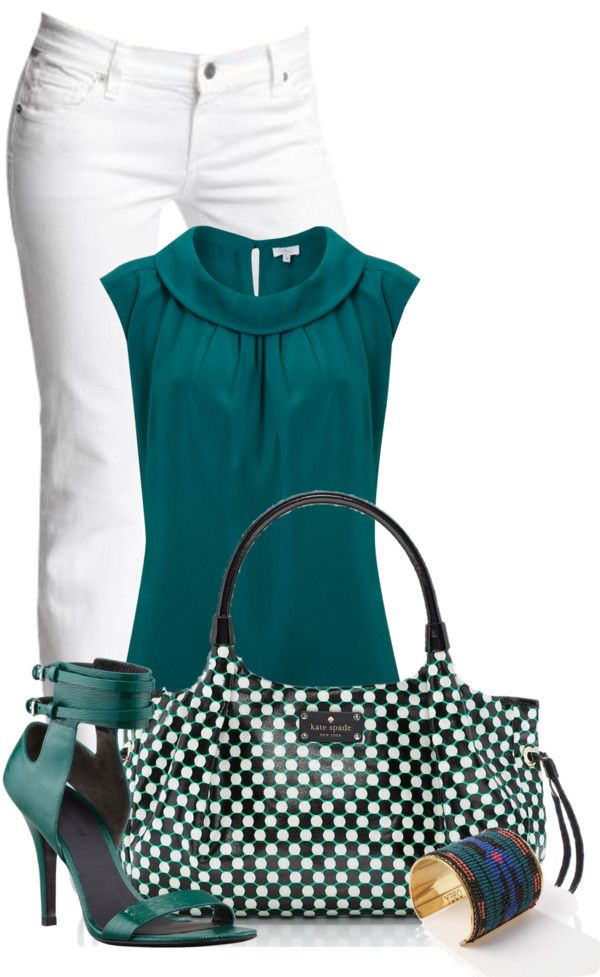 """Love the shirt & and color - doubtful you'll ever get me in white pants though. """"set 1129"""" by ana-angela on Polyvore"""