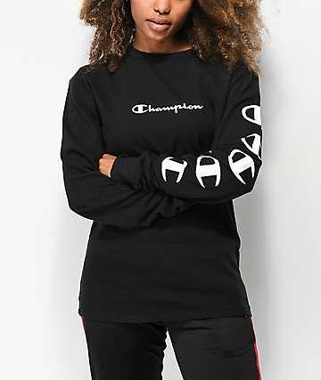 36e1e38a Champion Script Black Long Sleeve T-Shirt in 2019 | clothes | Shirts ...