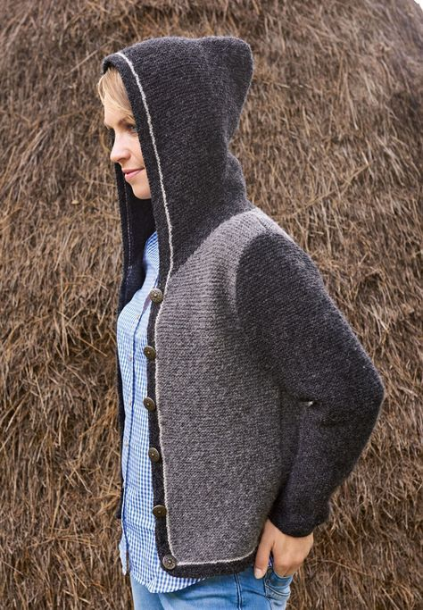Lana Grossa DAMENJACKE MIT KAPUZE UND STREIFENBLENDEN Alta Moda Alpaca - TRACHTEN MIT MAGDALENA NEUNER - Modell 14 | FILATI.cc WebShop