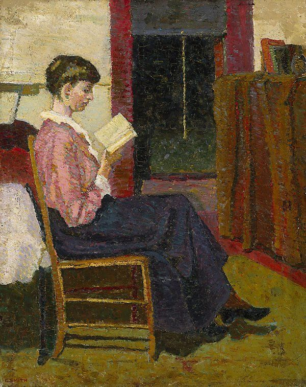 The Reader (1916). Grace Cossington Smith (Australian, 1892–1984). Oil on canvas. In her new medium of painting with oils, Cossington Smith came into her own. The Sock Knitter (1915), a portrait in oils, has been hailed as the first truly modernist work by an Australian artist. There followed a series of family portraits and interiors, such as The Reader, as well as light-filled landscapes. Soon she was also painting urban scenes, capturing the restive spirit of the times in arresting…