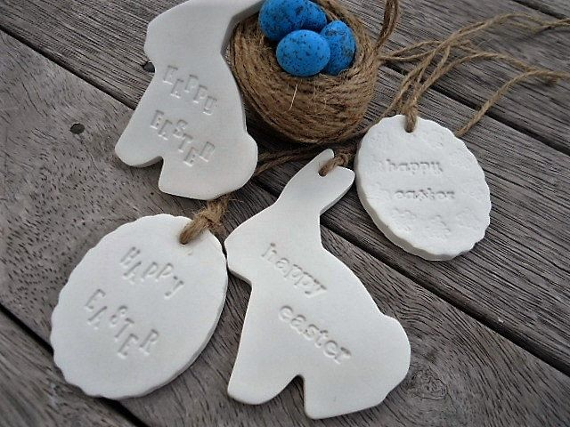 Happy Easter Clay Ornaments - Set of 4 by MYMIMISTAR on Etsy