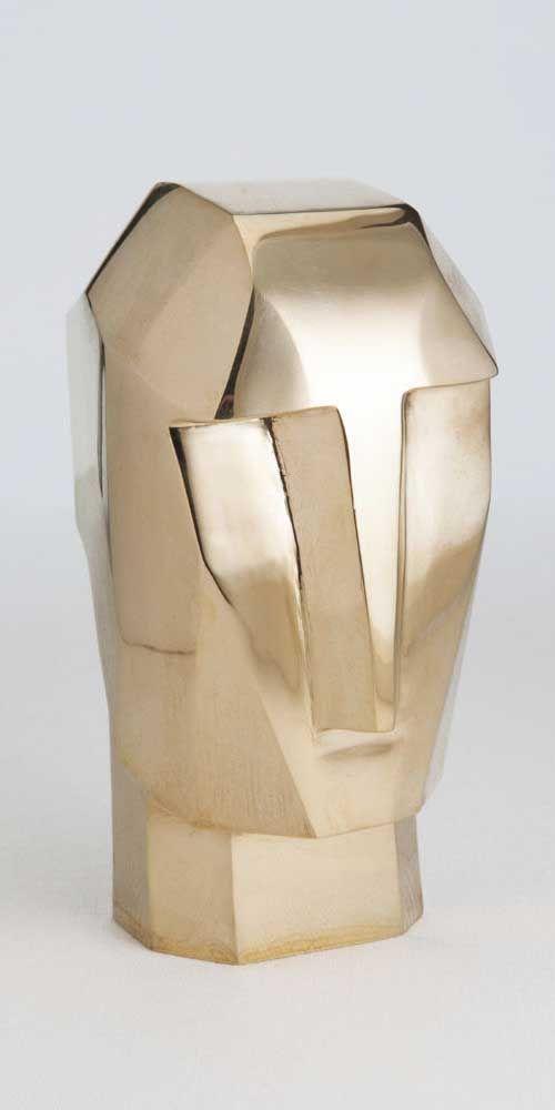 KELLY WEARSTLER   LITTLE BRONZE HEAD TRIP. Iconic burnished brass sculpture