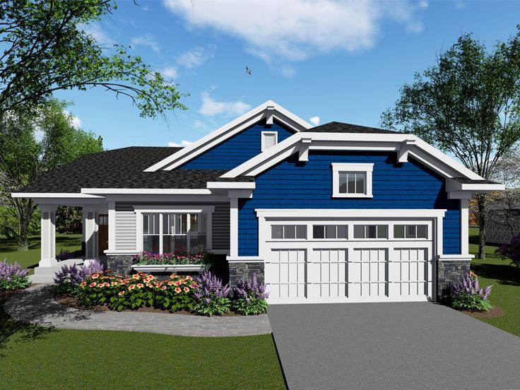 020h 0438 Bungalow House Plan Ideal For Empty Nesters Craftsman Style House Plans Small Craftsman Style House Plans Empty Nester House Plans
