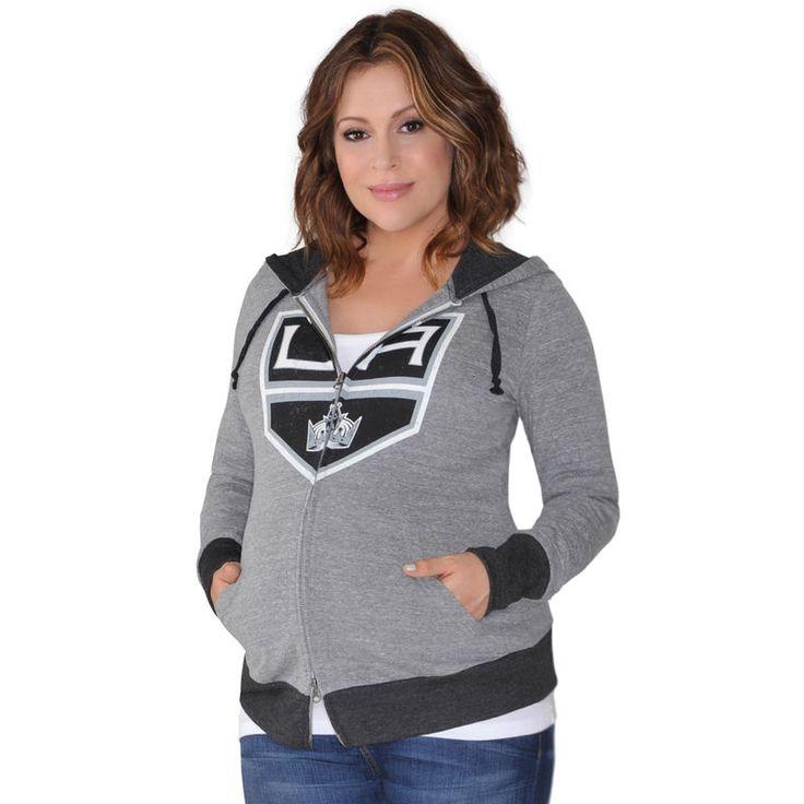 Los Angeles Kings Touch by Alyssa Milano Women's Maternity Hat Trick Lightweight Full-Zip Hoodie - Gray